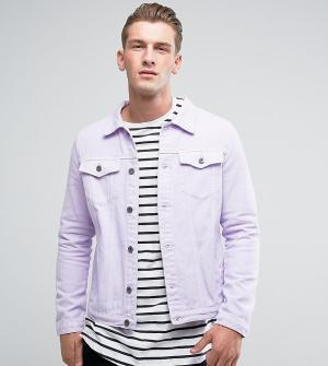 Liquor N Poker Сиреневая однотонная джинсовая куртка. Цвет: фиолетовый