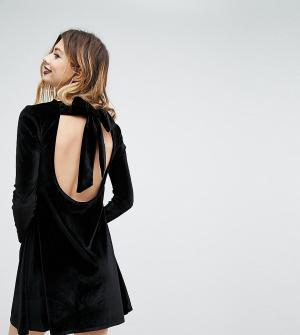 Rokoko Бархатное свободное платье с завязкой. Цвет: черный