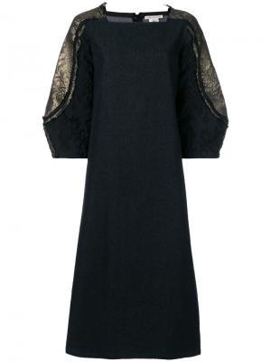 Платье с отделкой на рукавах Stefano Mortari. Цвет: чёрный
