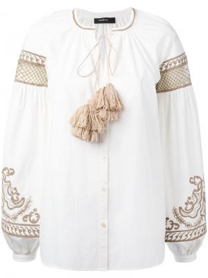 Блузка с широкими рукавами и кисточками Wandering. Цвет: белый