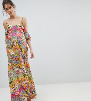ASOS Maternity Пляжное платье макси с открытыми плечами и кубинским плиточным принтом. Цвет: мульти