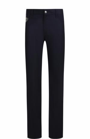 Шерстяные брюки прямого кроя Cortigiani. Цвет: темно-синий
