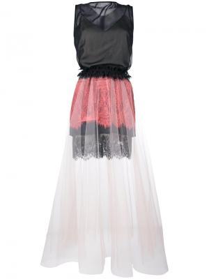 Платье без рукавов из кружева и тюля Loyd/Ford. Цвет: чёрный