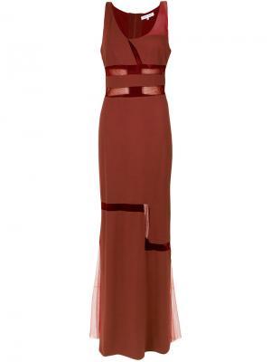 Sheer panels gown Gloria Coelho. Цвет: красный