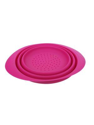 Дуршлаг силикон 20*9 см Peterhof. Цвет: розовый