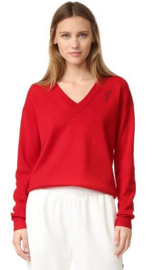 Пуловер с вышитым лицом Grey Jason Wu. Цвет: алый/щебень