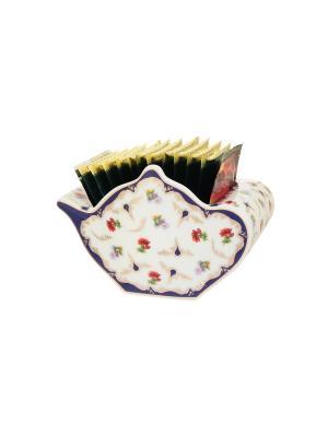 Подставка для чайных пакетиков  Цветочек Elan Gallery. Цвет: белый, синий, красный