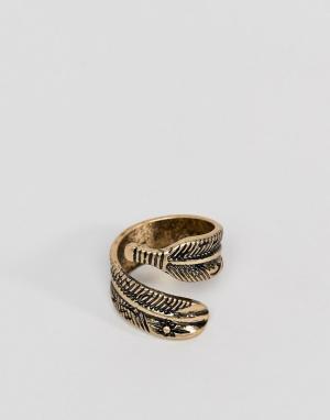 ASOS Золотистое кольцо с пером DESIGN. Цвет: золотой