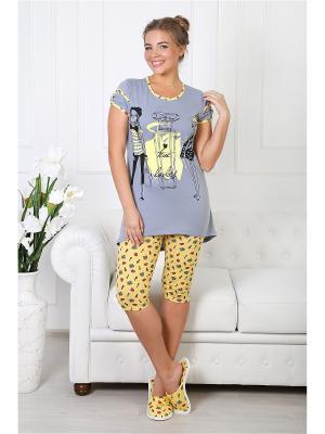 Пижама Шанель 2 ВиоТекс Партнер. Цвет: серый, желтый