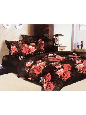 Комплект постельного белья 6 предметов HAMRAN. Цвет: коричневый, красный