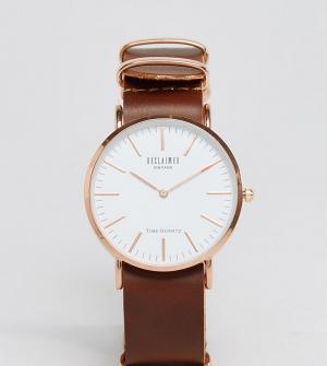 Reclaimed Vintage Часы с коричневым кожаным ремешком 36 мм Inspired эк. Цвет: коричневый