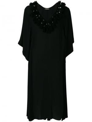 Плиссированное платье шифт с кисточками Veronique Branquinho. Цвет: чёрный