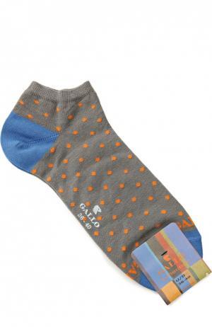 Хлопковые укороченные носки Gallo. Цвет: серый