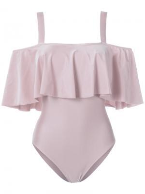 Ruffled swimsuit Adriana Degreas. Цвет: розовый и фиолетовый