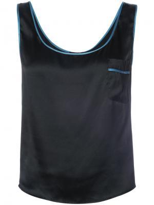 Пижамный топ с контрастной отделкой Morgan Lane. Цвет: чёрный