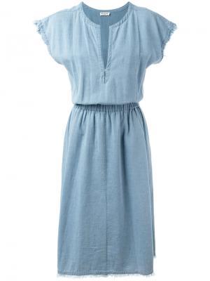 Джинсовое платье с V-образным вырезом Masscob. Цвет: синий
