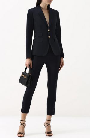 Шерстяной однотонный костюм с укороченными брюками Dsquared2. Цвет: темно-синий