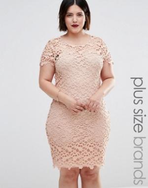 Club L Платье миди с отделкой кроше Plus. Цвет: бежевый
