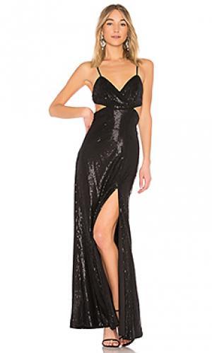Вечернее платье с пайетками denisa X by NBD. Цвет: черный