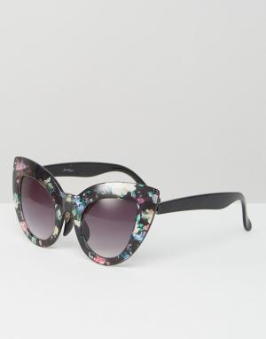 Jeepers Peepers Солнцезащитные очки кошачий глаз с цветочным принтом. Цвет: мульти