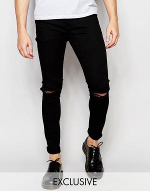 Liquor & Poker Черные джинсы скинни с рваными коленями. Цвет: черный