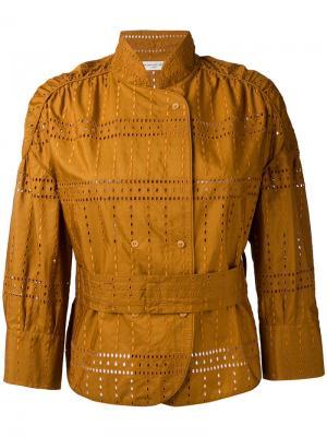 Куртка с вышивкой Veronique Leroy. Цвет: коричневый