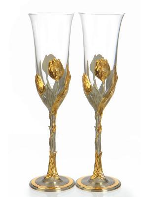 Набор бокалов для шампанского Тюльпан Eagle Pewter. Цвет: золотистый, серебристый