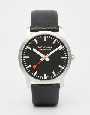 Mondaine Часы с кожаным ремешком , 41 мм. Цвет: черный