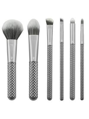 Набор кистей для макияжа всего лица MODA METALLICS TOTAL FACE SET SILVER в чехле Royal&Langnickel. Цвет: серебристый