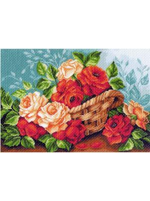 Рисунок на канве Розы в корзине Матренин Посад. Цвет: зеленый, бирюзовый, красный