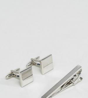 Burton Menswear Запонки и зажим для галстука. Цвет: серебряный
