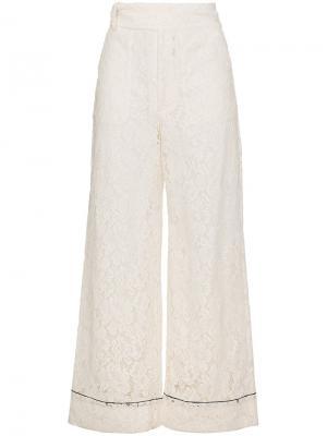 Широкие кружевные брюки Jerome Ganni. Цвет: белый