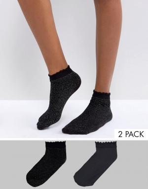Vero Moda 2 пары носков с блестками. Цвет: черный