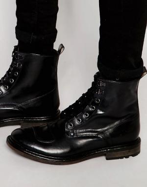 Base London Кожаные ботинки со шнуровкой Mercury. Цвет: черный