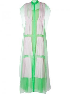 Платье-рубашка с плиссированным слоем Delpozo. Цвет: зелёный
