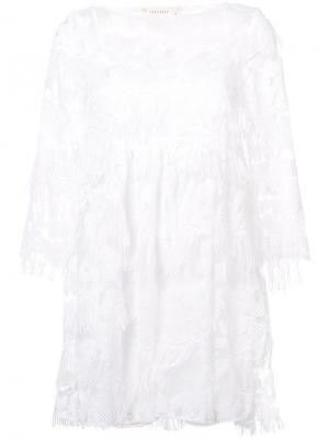 Кружевное платье Nicole Miller. Цвет: белый