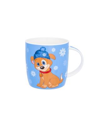 Кружка Щенок в шапке со снежинками на голубом Elan Gallery. Цвет: голубой, бежевый, красный