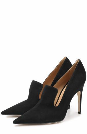Замшевые туфли с фигурным вырезом Sergio Rossi. Цвет: черный