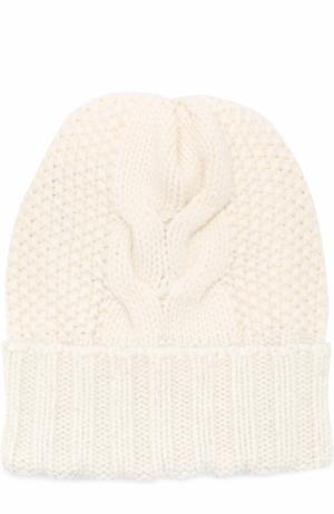 Кашемировая шапка фактурной вязки Kashja` Cashmere. Цвет: белый