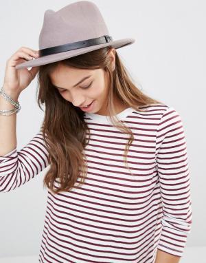 Brixton Фетровая шляпа с кожаной лентой. Цвет: бежевый