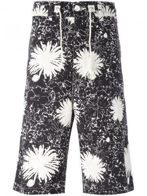 Бермуды с цветочным принтом Junya Watanabe Comme Des Garçons Man. Цвет: чёрный