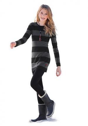 , платье и леггинсы (комплект из 2 изд.), для девочек CFL. Цвет: антрацит в полоску + чёрный