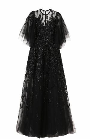 Многослойное платье с подолом и декоративной отделкой пайетками Elie Saab. Цвет: черный