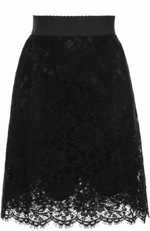 Кружевная мини-юбка с широким поясом Dolce & Gabbana. Цвет: черный