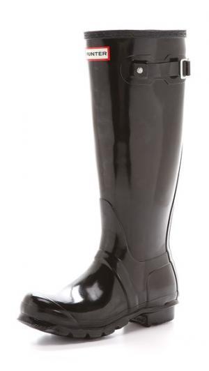 Оригинальные высокие глянцевые сапоги Hunter Boots. Цвет: голубой