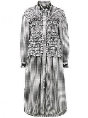 Платье-рубашка в клетку с оборками Simone Rocha. Цвет: чёрный