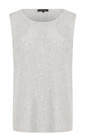 Кашемировый топ фактурной вязки без рукавов St. John. Цвет: светло-серый