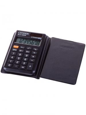 Калькулятор карманный SLD-200N 8 разрядов, двойное питание, 60*98*10 мм, черный CITIZEN. Цвет: черный