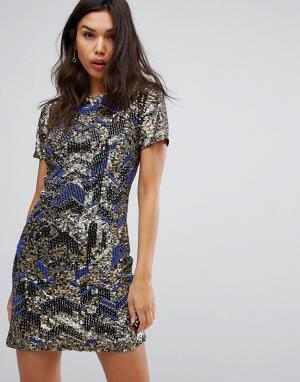 Starlet Платье с зигзагообразной отделкой. Цвет: синий