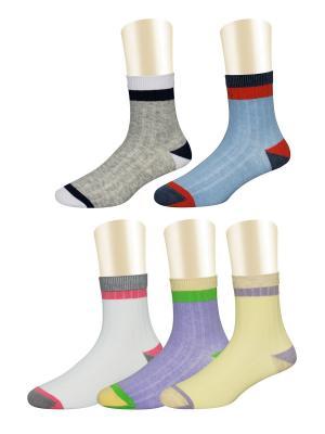 Носки, 5 пар Glamuriki. Цвет: голубой, белый, желтый